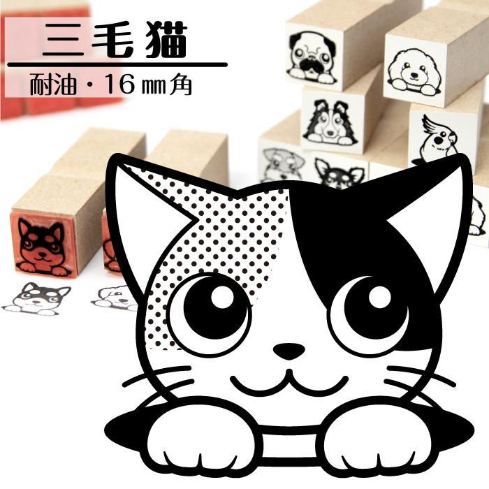 三毛猫 イラストゴム印 しっぽと生活